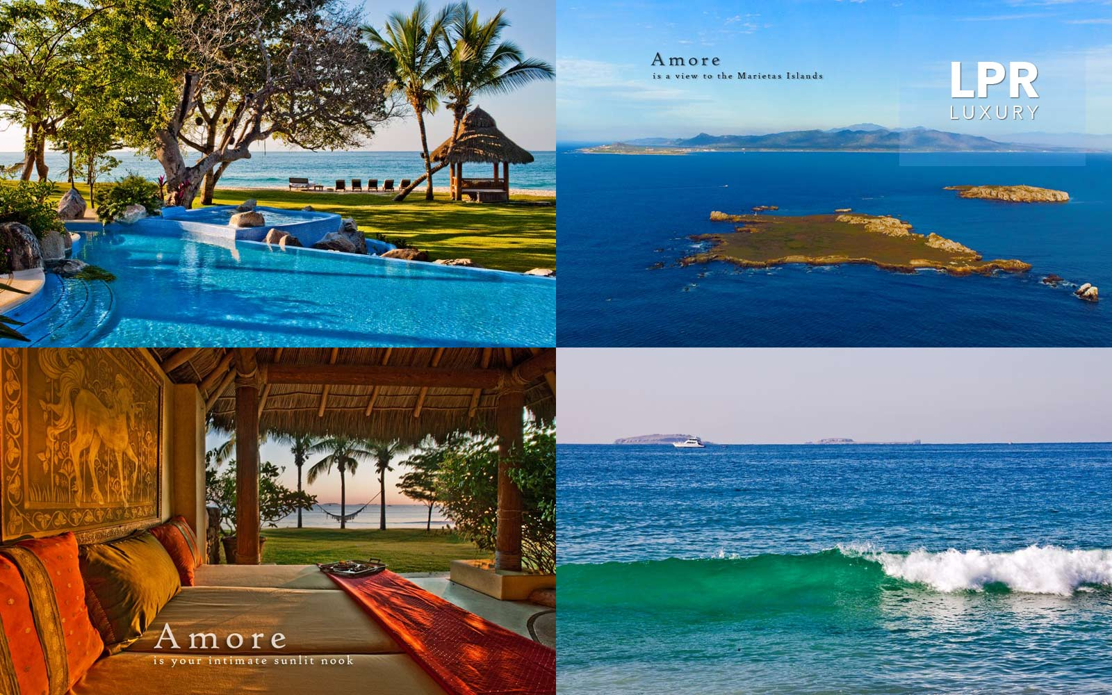 Villa Ranchos 1 - Casa Amore sits on soft white sand over­look­ing sun­sets, the Mari­etas Islands and the world renown Punta Mita Resort, Riv­iera Nayarit, home to the Four Sea­sons & The St. Regis resorts