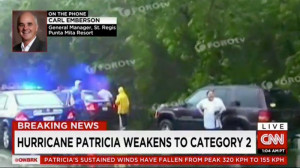 Carl Emberson on CNN giving Hurricane Patricia Updates in Punta Mita, Mexico